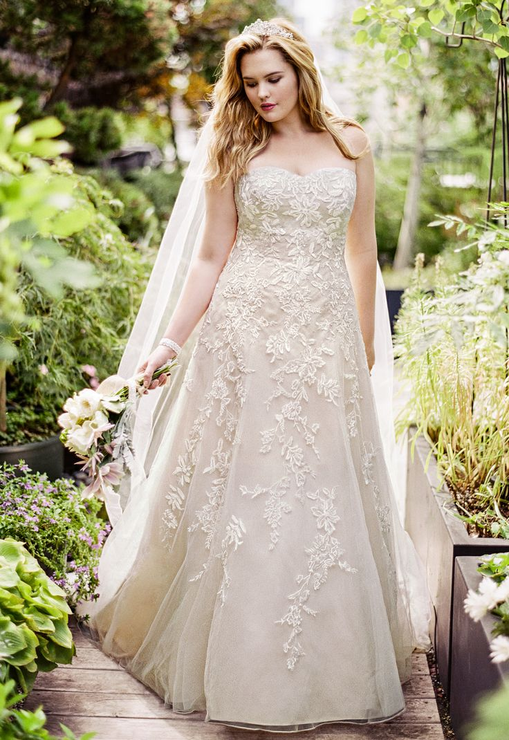 wedding dresses davids bridal wedding dresses David s Bridal Woman Sweetheart Tulle A Line Gown with Lace Appliques Style davidsbridal