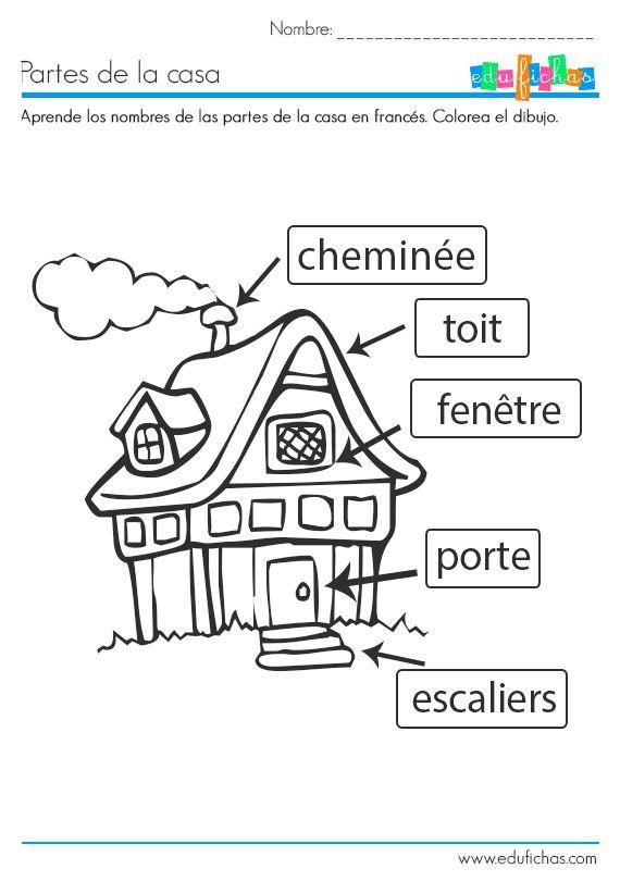 Aprende las partes de la casa en francés. #preescolar #frances #actividades