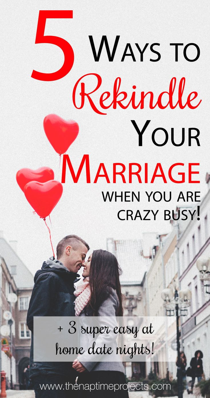 A busy life with kids and jobs and everything can come between a marriage. It's important to be intentional to rekindle and revive your marriage. Here are 5 ways to start today! Plus 3 easy at-home date nights! #marriage #datenight