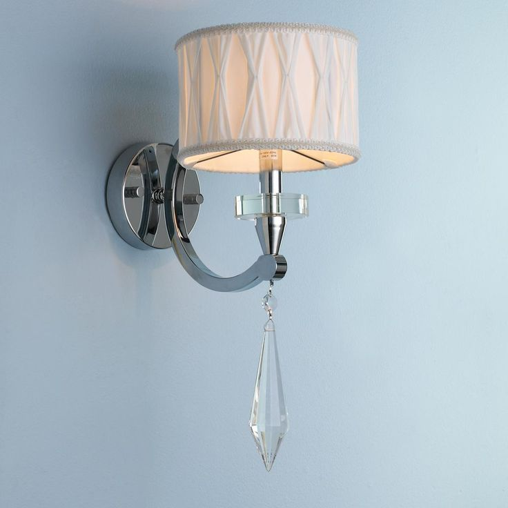1 light chrome and lead crystal spear wall sconce