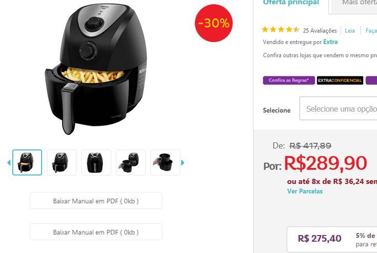 Fritadeira Air Fry Saúde Inox PH3L Philco << R$ 22540 >>