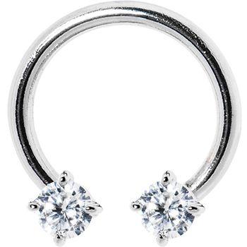 $11.99 Silver 925 Clear Austrian Crystal Horseshoe Circular Barbell