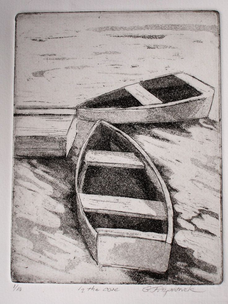 Original Fine Art Etching, in the Cove by papermaker on Etsy