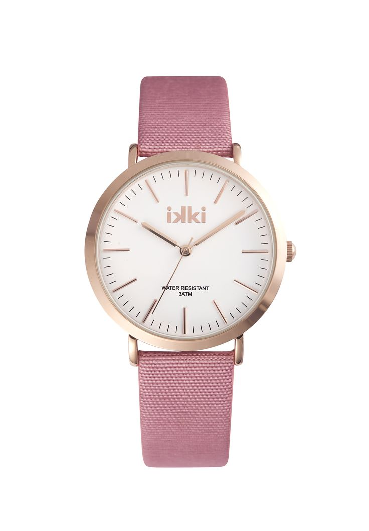 Horloge ikki Fashion, pink, gold, white, pastel, oudroze, watch, ikki style, roze