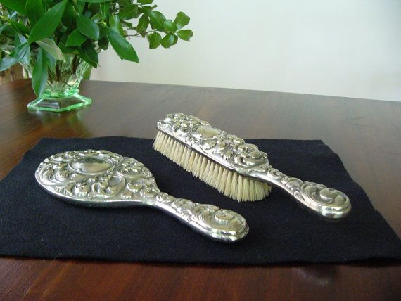 Silver Plate Brush and Mirror  ... Vintage by DecorativeVintage