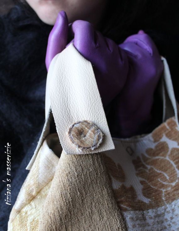 Borsa tessile patchwork tonalità mustard di TizianaSmasserizie