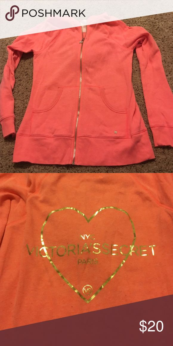 Victoria's Secret zip up Soft material. Bright coral with gold print on back. Hooded Victoria's Secret Tops Sweatshirts & Hoodies