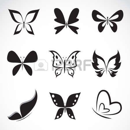 Vector groep van vlinder op witte achtergrond Stockfoto
