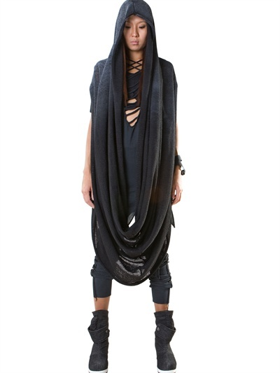 DEMOBAZA - HOODED LONG LINEN SHAWL SWEATER