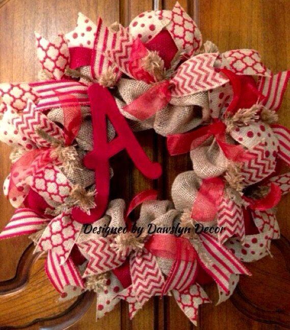 Burlap Wreath Rustic Wreath Initial Wreath Red by DawslynDecor