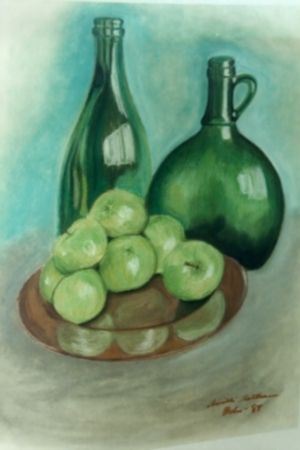 This is a still life in chalk. The only painting I have ever sold as my sister insisted on buying it.