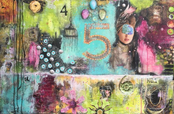 Watching. 24 x 36 Acrylic mixed media on canvas by Chasity Heck. $350