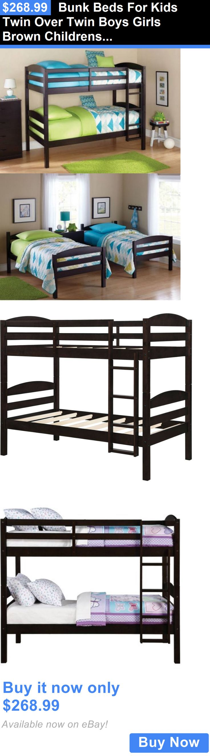 Kids Furniture: Bunk Beds For Kids Twin Over Twin Boys Girls Brown Childrens Bedroom Furniture BUY IT NOW ONLY: $268.99