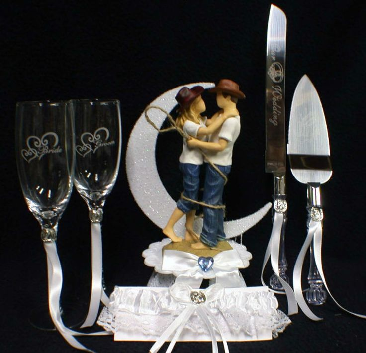 COWBOY & COWGIRL Country Western Wedding Cake topper LOT Gla