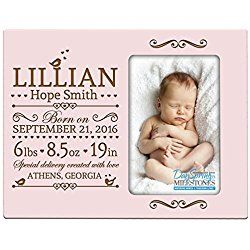 Personalized New Baby birth announcement picture frame for newborn boys and girls Custom engraved photo frame for new mom and dad parents and grandparents (Pink)