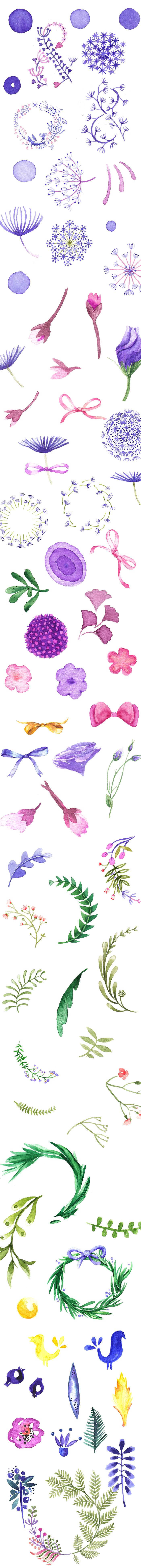 Beautiful #Watercolor Collection with 540+ Elements | #spring #flowers