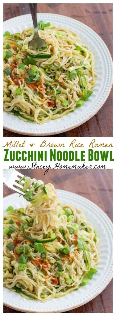 Craving pasta? Try this healthy millet and brown rice zucchini ramen noodle bowl instead! It's ready in less than 10 minutes so it's perfect for a quick lunch or dinner and it's loaded with hidden veggies!