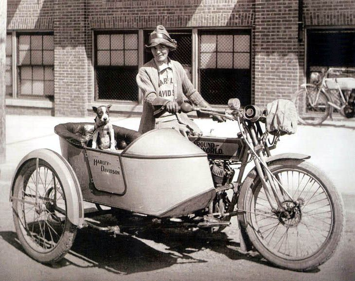 della crewe, who rode from waco, tx to new york in her 1914 harley, with her dog, trouble, in the sidecar