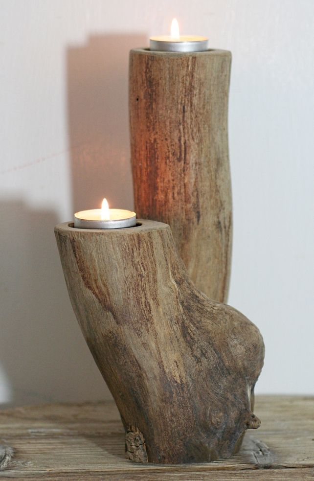 Driftwood candelabra, Drift Wood Candle holder, Drift wood table decoration. £30.00 Más