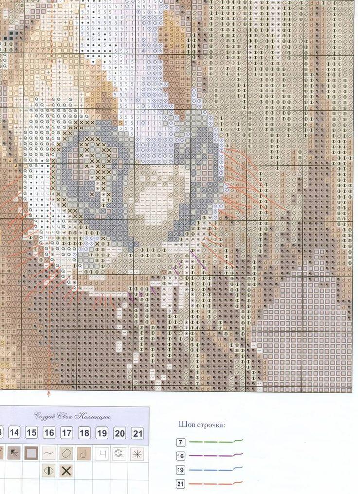 Cross-stitch Horse, part 5...  color chart on part 4 & 5...    Kreuzstich
