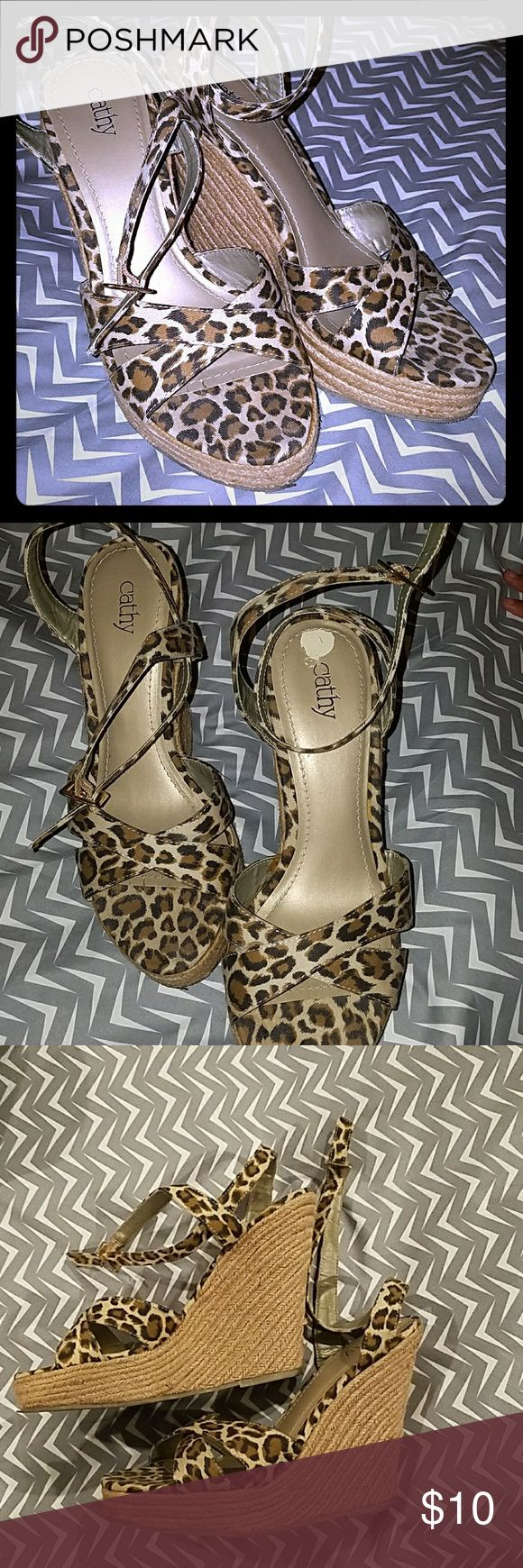 Leopard Print Shoes Leopard or Cheetah espradilles. Used 5 times total. Comfortable. Perfect for upcoming Halloween for Peggy Bundy costume or for next spring and summer. Cathy Jean Shoes Espadrilles
