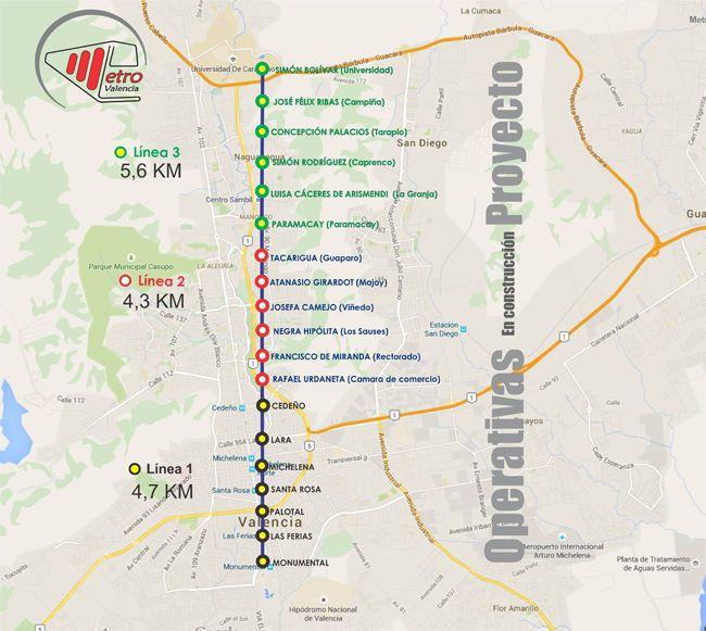 O #Metrô de #Valencia é o sistema de metrô da capital do estado de Carabobo, na Venezuela. O metrô de Valencia serve a cidade a partir do sul até a avenida Cerdeño, no centro da cidade. Foi inaugurado em 18 de Novembro de 2006 pelo Presidente da República, Hugo Chávez. Apenas um ano mais tarde começou a operação comercial, dia 18 de novembro de 2007, com várias novas estações (Feiras, Michelena, Santa Rosa e Lara) e um comprimento total de 6,2 quilômetros.
