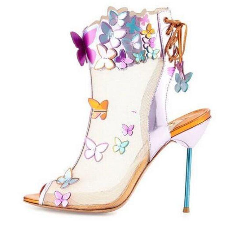 Mujeres Nuevo Diseño de Punta Abierta Espalda de Encaje-up de La Mariposa 3D Mesh Botines recorte Estilete de Tacón Alto botines Zapatos de Vestir de Boda