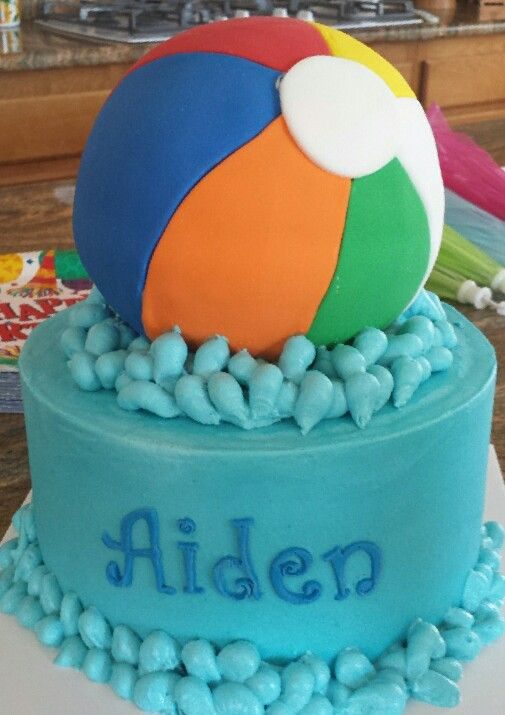 Beach ball cake. Fondant beach ball cake for a pool party birthday.