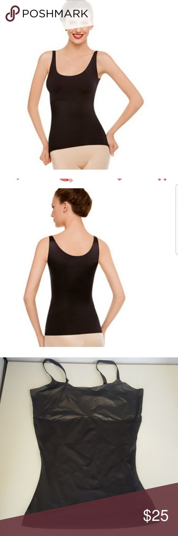 """Spanx """"Hide & Sleek"""" Shaping Camisole Smooth bumps and bulges in an instant with the help of this Hide & Sleek shaping camisole. Designed to streamline your top half, it's ideal under tops, tanks, shirts, or dresses. From Spanx(R) Hosiery.  L (10-12) Body 79% polyester/21% spandex, exclusive of trim; chest 90% polyester/10% spandex. Machine wash, line dry. Made in Costa Rica Part of the Love Your Assets Collection. SPANX Intimates & Sleepwear Shapewear"""