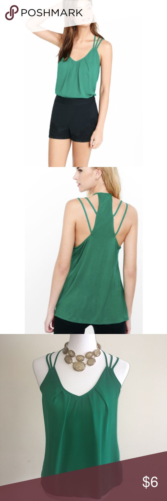 EXPRESS Green Strappy Racerback Cami In good used condition. Only worn a copy of times.  - Front body and straps: 100% polyester - Back body: 100% rayon - Hand wash cold separately Express Tops Camisoles