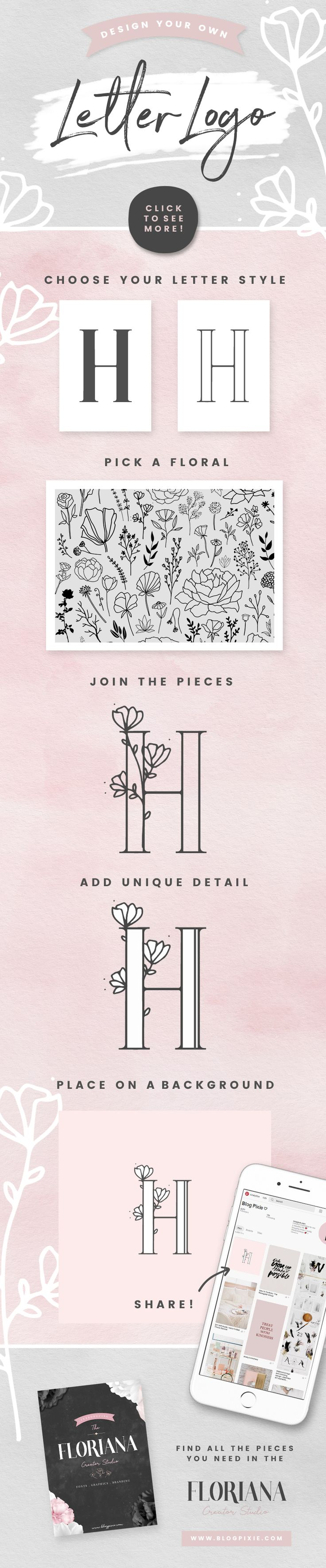 How to design your own single letter logo with a flower illustration. Creative alphabet design inspiration, fonts and floral illustrations for blog, branding and logos. Find the Floriana Creator Studio on Creative Market.