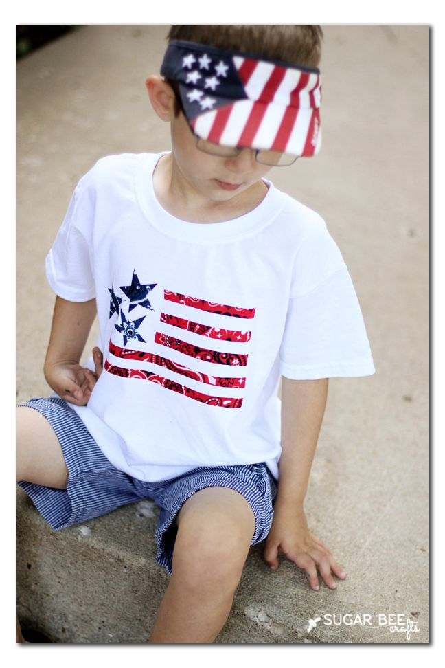flag tee, NO SEW craft project - this is fun and simple!  Bandana Flag T-Shirt ~ Sugar Bee Crafts