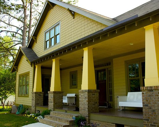 38 best images about yellow exteriors on pinterest for Arts and crafts porch columns