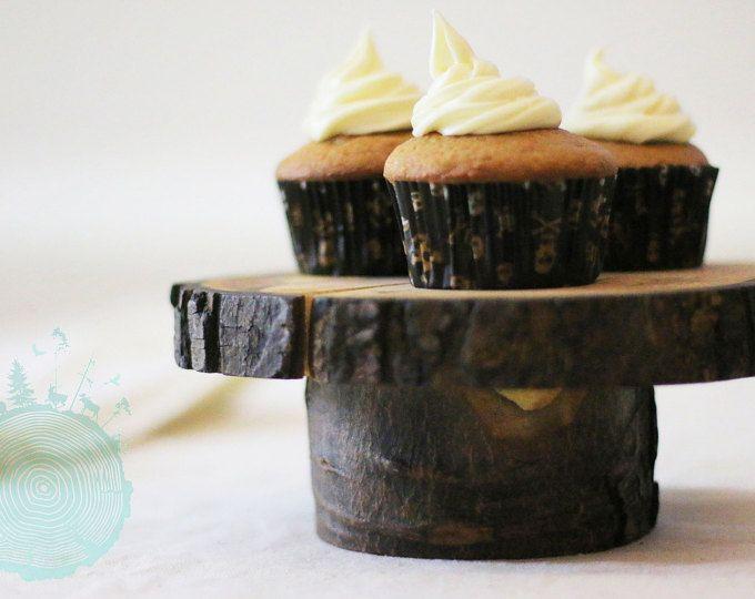 Présentoir à gâteau en bois avec écorce    7'' - 8''    Présentoir à cupcakes    Cadeau    Éco-responsable
