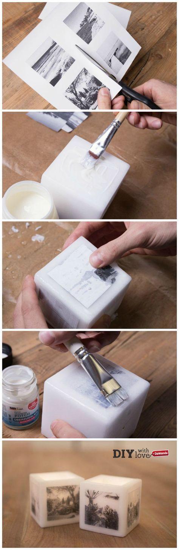 Decora le candele con le tue foto preferite: impara come fare con il nostro tutorial passo passo - http://it.dawanda.com/tutorial-fai-da-te/idee-creative/come-trasferire-immagini-candele