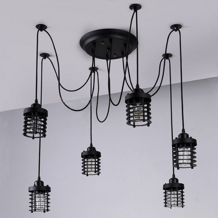 More Detailed Picture About 6 Lights American Restaurant Black Pendant Lamp Iron Extra Large Light Wrought Living Room