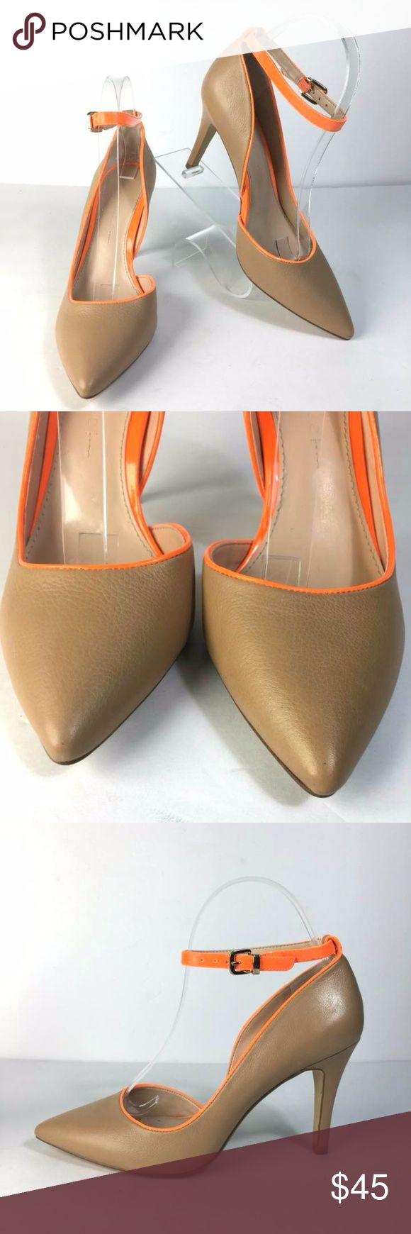 """BANANA REPUBLIC Tan and Neon Orange Strappy Heels Measurements  *Measurements are approximate and for reference only*  10"""" Long, 3"""" Wide, 7"""" Tall Heel:  3.5""""  Please note that slight color difference should be acceptable due to the light and screen. Check measurements to insure fit.  BIN1-008 Banana Republic Shoes Heels"""