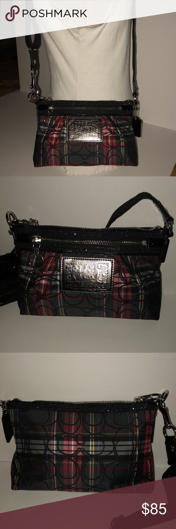 "Coach Poppy tartan plaid handbag This is a never used Coach Poppy Tartan plaid with sparkle black. Signature. Great for the holidays! Cross body style. 9""x 6"". Strap drop is 24"". Coach Bags Crossbody Bags"