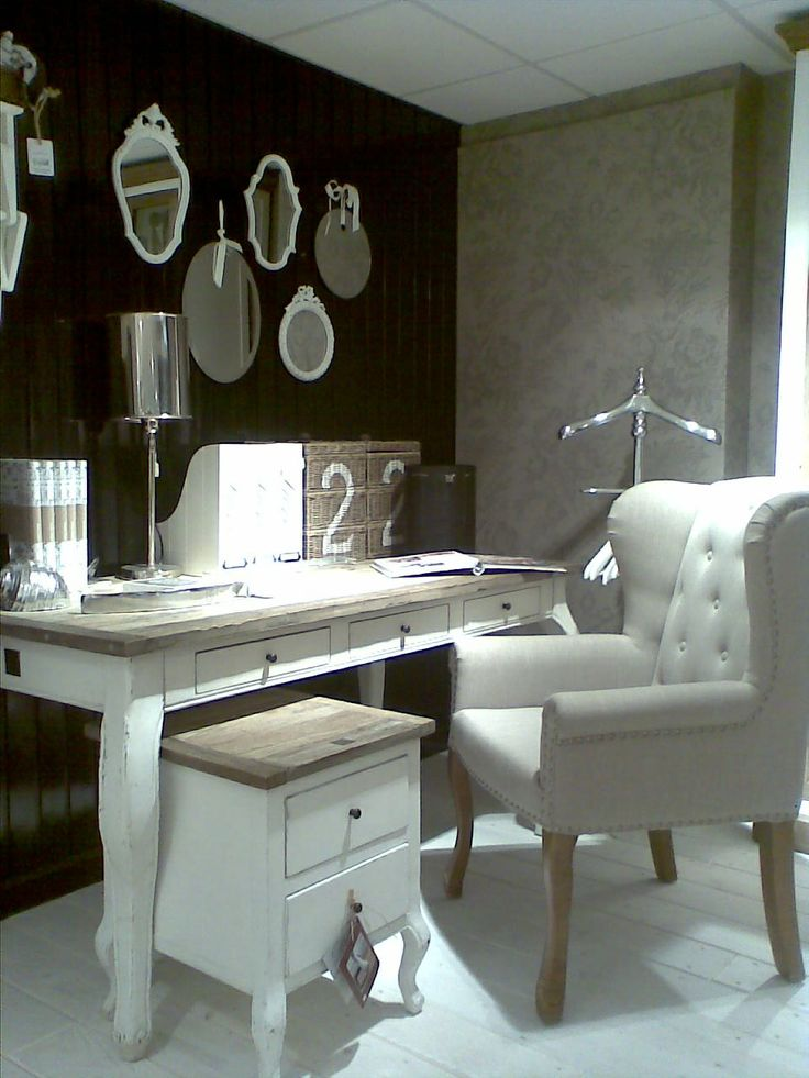 Home office - dark wall and feminine furniture
