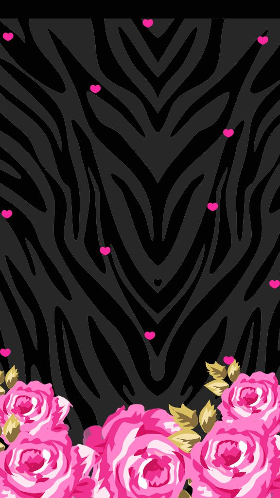 PINK FLOWERS ON BLACK IPHONE WALLPAPER BACKGROUND