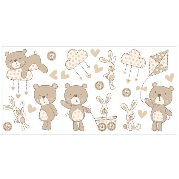 Bear and Boo Neutral Wall Stickers - Nursery Wall Decals