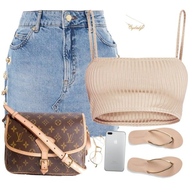 A fashion look from October 2017 featuring Topshop mini skirts, Aéropostale flip flops and Louis Vuitton shoulder bags. Browse and shop related looks.