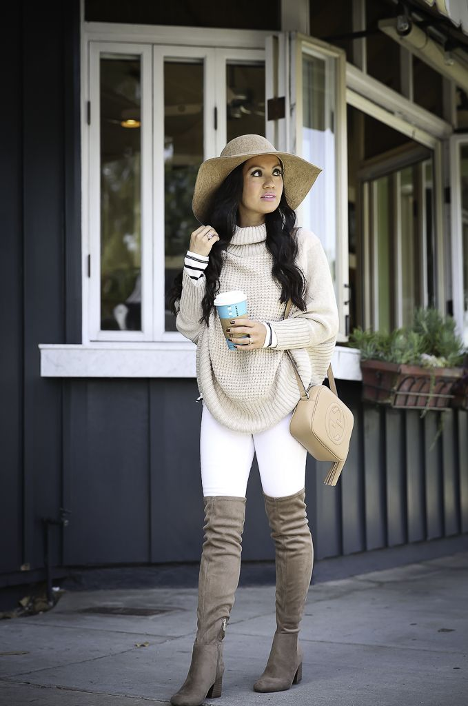 98cf0fdcb0e84 How to wear over the knee boots -petite cable knit poncho, over the knee  boots, neutral fall outfit, winter white, white jeans, petite fashion blog,  ...