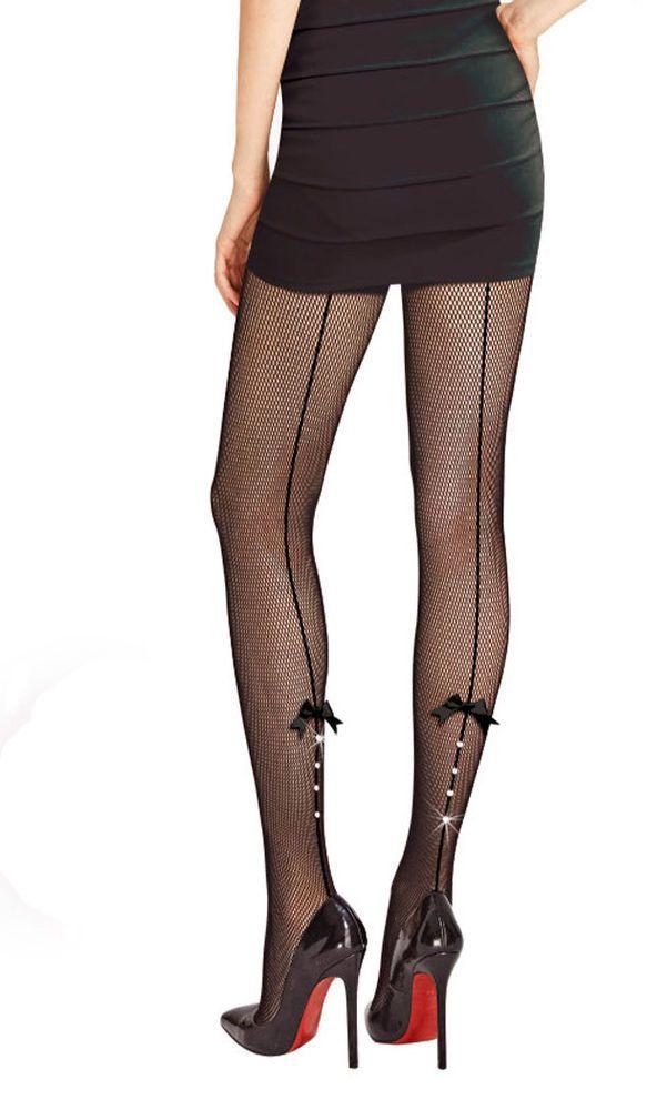 Collant Résille Noir Dentelle Couture Ligne Strass Noeud Noir SEXY BAS NEUF 29c070a87f2