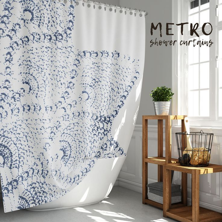 Navy Blue And White Lace Print Shower Curtain In 2020 Neutral Bathrooms Designs Farmhouse Shower Curtain Fabric Shower Curtains
