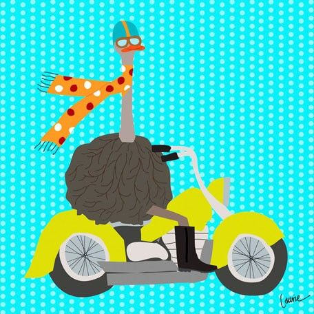 5.  Ostriches on the Go - Motorcycle   #Oopsydaisy  #ArtForKids
