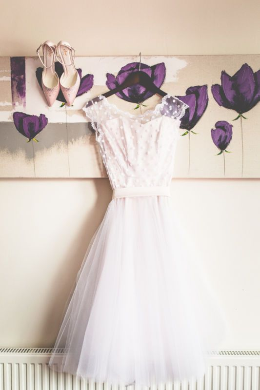 Vintage 1950s Polka Dotted Short Wedding Dresses Tea Length Beach Bridal Gowns
