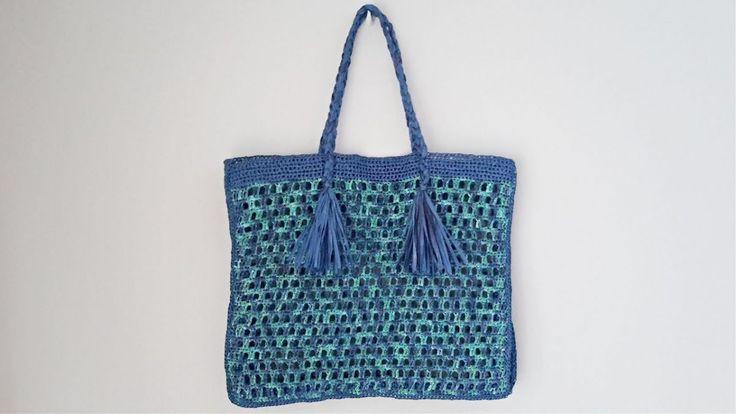 Rafya İpten Beach Bag Knitting Modelo e Descrição – Modelos de tricô