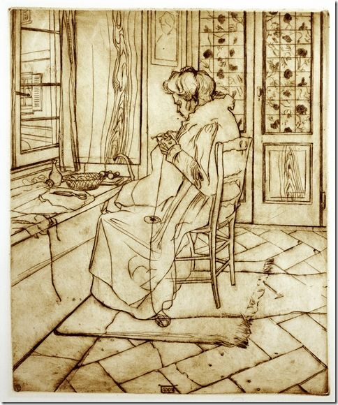 Umberto Boccioni_La madre che lavora all'uncinetto,1907 acquaforte e puntasecca