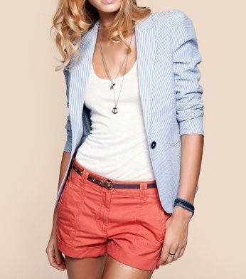 seersucker jacket and shorts: Baby Blue, Colors Combos, Fashion, Seersucker Blazer, Spring Summ, Blue Blazers, Jackets, Summer Outfits, Coral Shorts